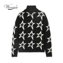 Kobieta zima kobiety biała gwiazda pył Instarsia wełniany golf sweter sweter damski czarny sweter płaszcz gruby C 415