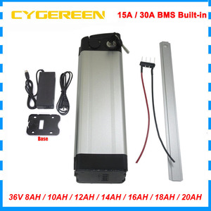 1000W 36V 20AH Electric bike bicycle battery pack 500W 36V 8AH 10AH 12AH silver fish lithium 18650 bateria With 42V 2A Charger(China)