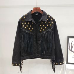 Denim jaqueta feminina 2020 outono nova primavera do vintage estrela rebite camurça franja casaco solto manga longa outerwear feminino boho jaqueta
