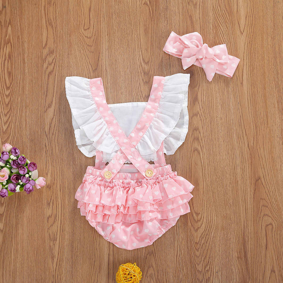 2020 verão recém-nascido coração impressão bodysuits infantil voar manga gola quadrada em camadas macacão arco cocar 2 pçs