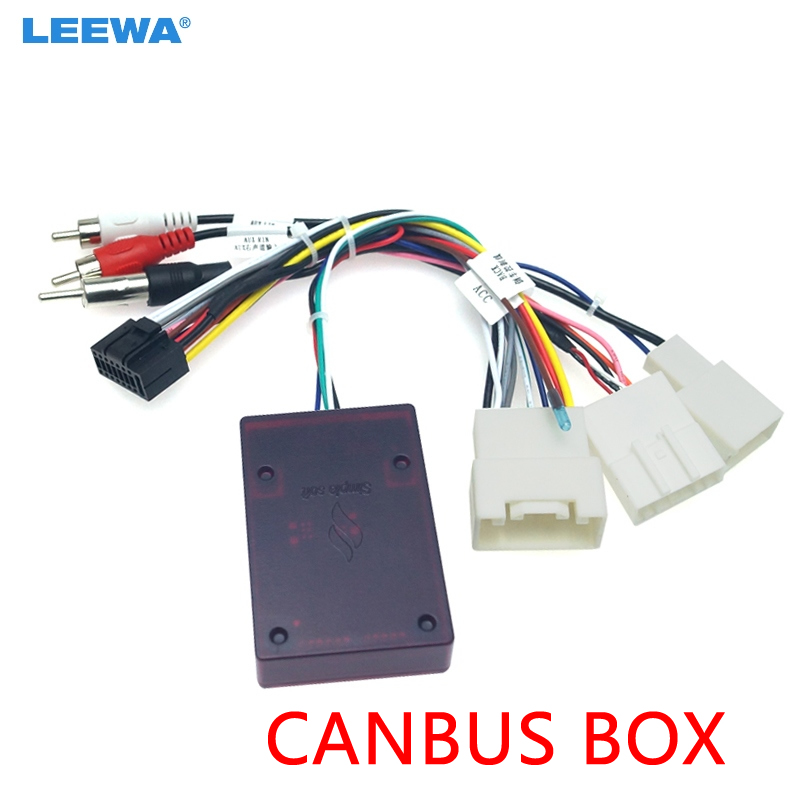 LEEWA Car Audio DVD Player 16PIN Android Power Cable Adapter With Canbus Box For Toyota Prado Power Wiring Harness #CA6439