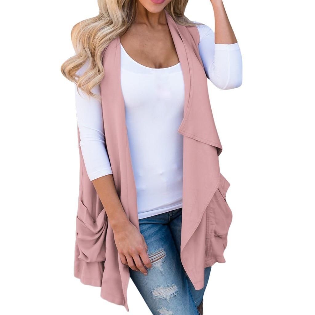2020 Hot Womens Autumn Sleeveless Vest Casual Irregular Hem Slim Fleece Pocket Waistcoat Overcoat Jacket Plus Size Vest