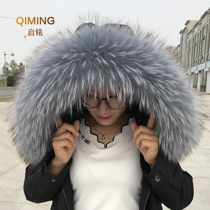 black fur collar luxury fur gift for women Natural raccon fur collar black fur scarf