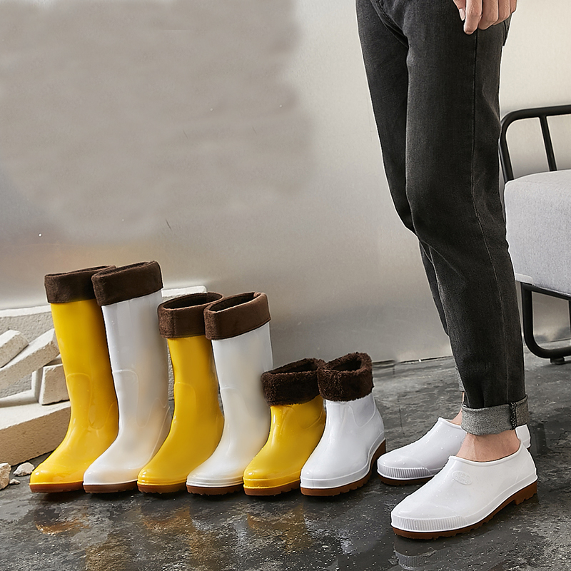 New good quality Men Rain Boots Workplace Kitchen Waterproof Labor Shoes Male Rainy Car Washing Men's Shoes rain boots shoes image