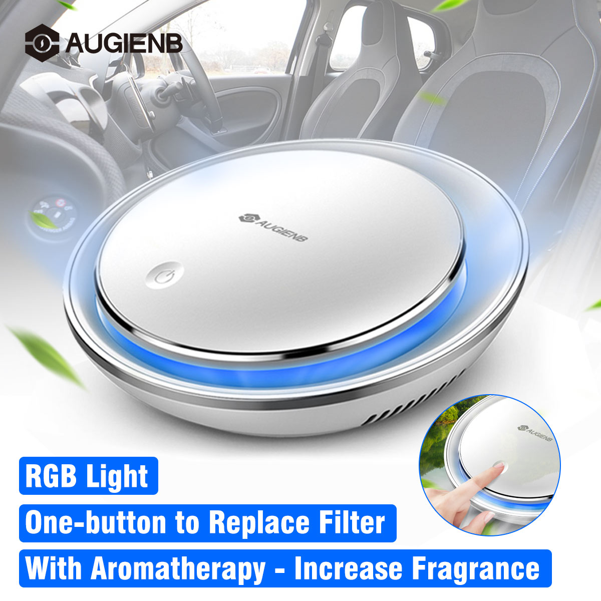 AUGIENB Air Purifier With HEPA Filter Fresh Air Anion Car Air Purifier Air Cleaner For Car Home Office Aromatherapy RGB Light
