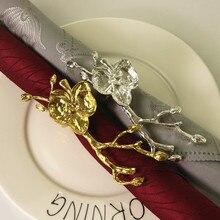 12PCS metal alloy napkin ring creative plum wedding buckle