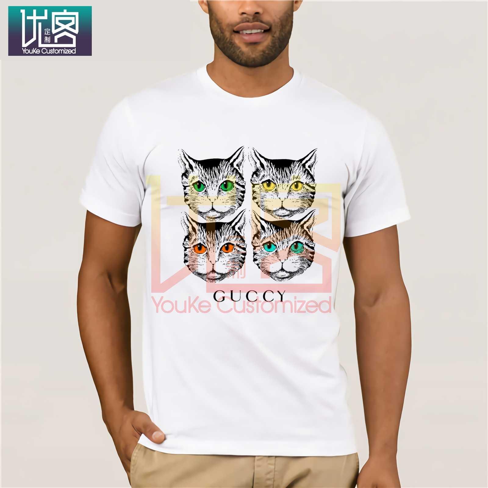 Новинка 2020, мужские футболки с принтом GUCCY, повседневный топ с коротким рукавом и круглым вырезом, хлопковые футболки, топы, Юмористическая футболка, 100% хлопковые топы с графикой