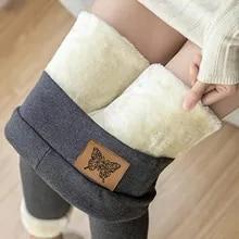 Fleece Leggings Cashmere Pants Wool Women Print Warm Thick Winter Tight Velvet