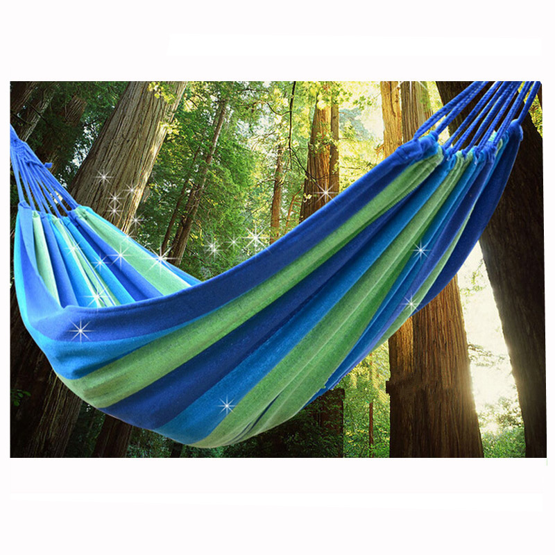 Double Wide Thick Canvas Hammock Portable Hammock Outdoor Outdoor Camping Garden Swing Hanging Chair Hangmat Blue Red