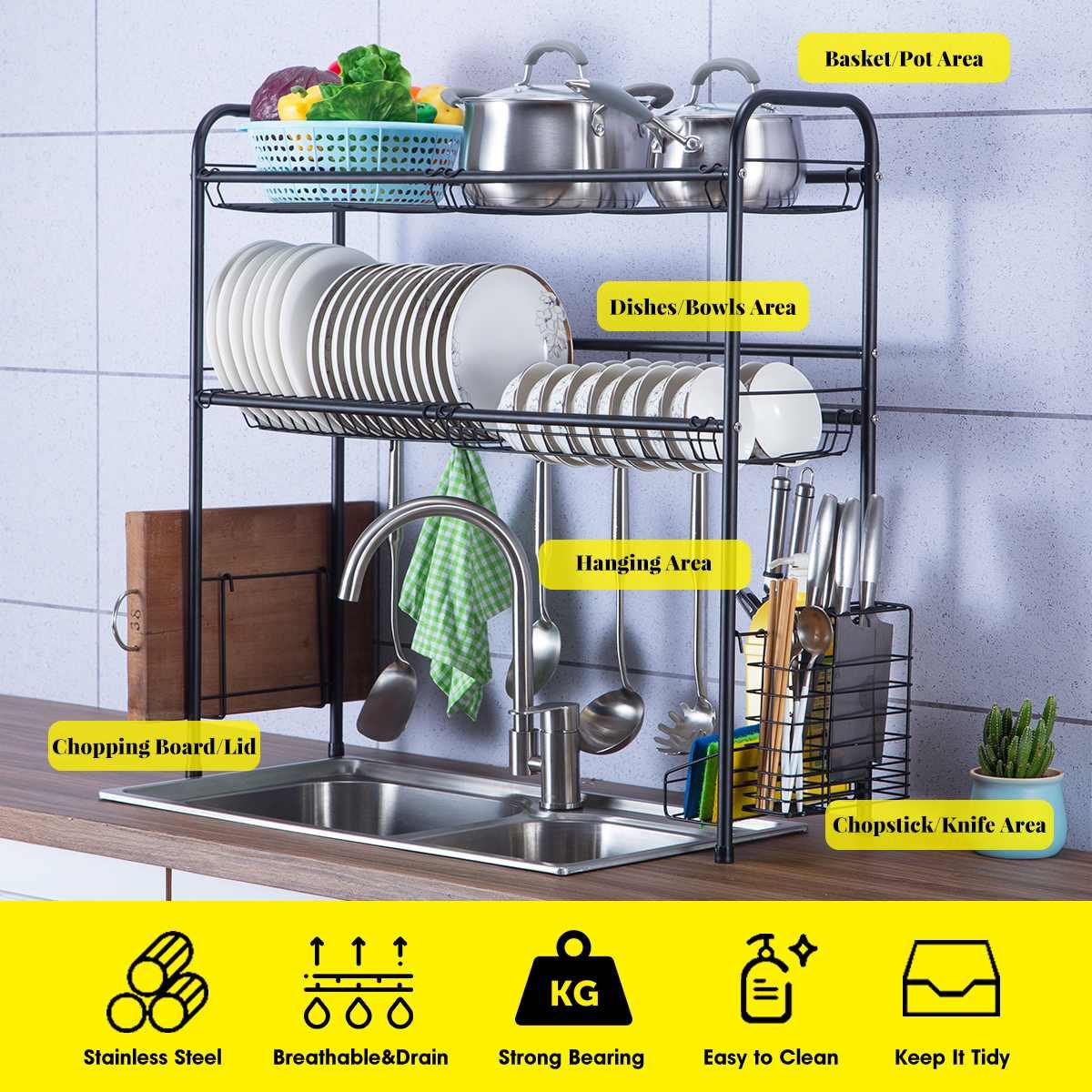 Étagère de cuisine en acier inoxydable, panier d'égouttage de vaisselle en acier inoxydable bol à couverts de séchage 2 étages, grand support de rangement pour la cuisine