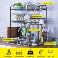 Stainless Steel Over Sink Dish Drain Rack Kitchen Shelf Bowl Cutlery Rack Drying 2 Floors Large Storage Holder Kitchen Organizer