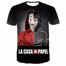 T-Shirt col rond homme, estival et respirant, en Polyester, Hip-Hop, Harajuku, La Casa De Papel, imprimé en 3D, 2021