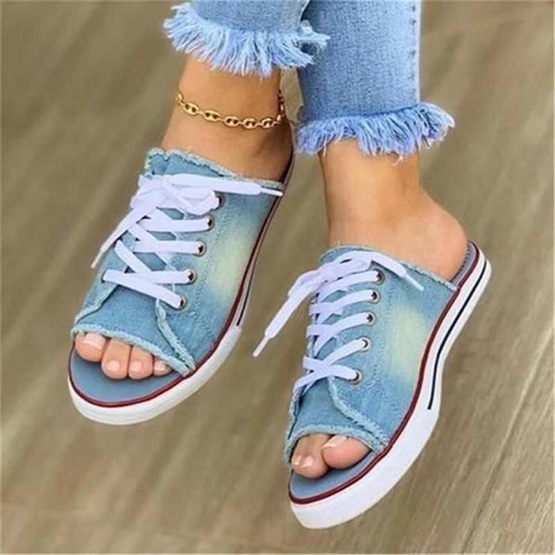 2020 moda kadın kanvas sandalet nefes yazlık terlik Lace Up burnu açık bayanlar sahte Denim düz ayakkabı Zapatos Mujer