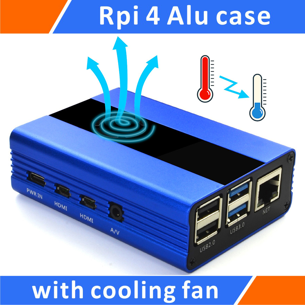 Raspberry Pi 4 Model B Aluminum Alloy Case With Cooling Fan Blue