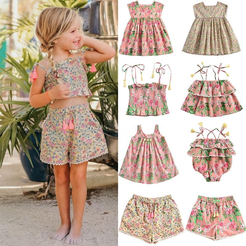 2020 Summer Girls Vintage Floral Dress Brand Kids Beautiful Tutu Dress Child Summer Casual Hawaii Dress Baby Brand Clothes Sets