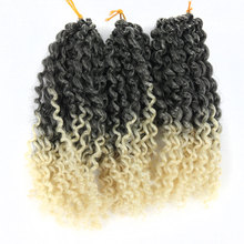 Ombre 1B/613 Crochet Braids Spring Twist Hair 8 Inches 3Pcs/Pack 60Strands Afro Curly Braiding Hair Synthetic Hair Extensions цена