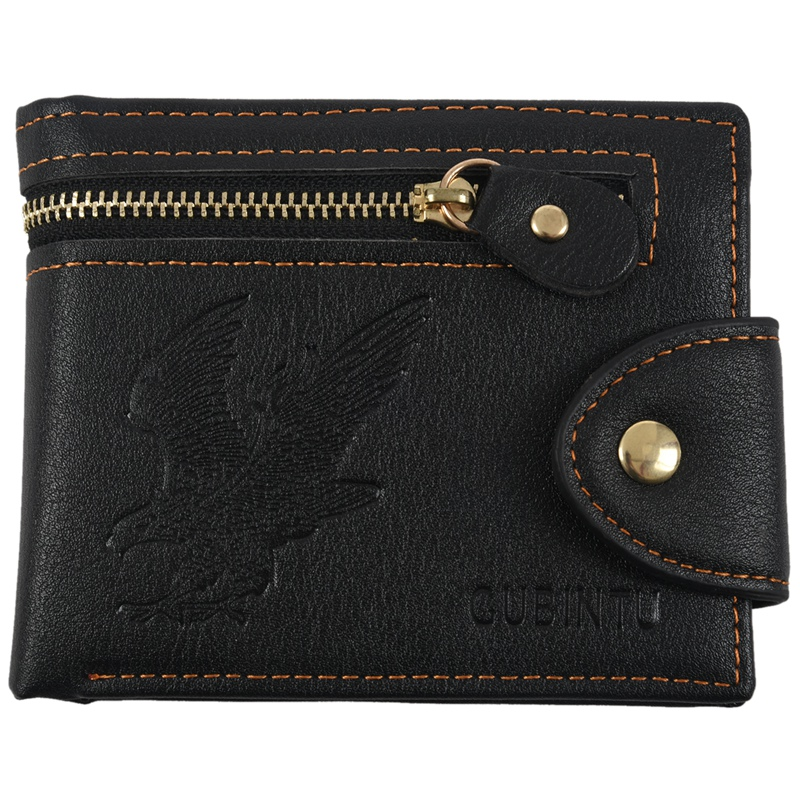 Gubintu Men's New Fashion High Quality Mini Zipper Wallet Male Pu Leather Card Cash Receipt Bags Holder Boys Clutch Purse Dec7 (
