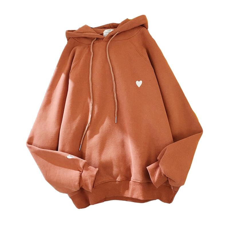 Zuolunouba Winter Rust Red Women Hoody Sweatshirt Embroidery Harajuku Love Heart Pullover Long Sleeve Loose Fleece Lady Tops