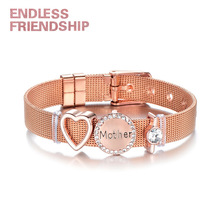 Endless Friendship DIY Stainless Steel Fine Bracelet Heart shape Beads Love Mother Mesh For Women Metal Wristband Gift