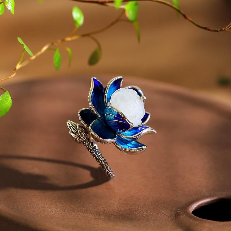 Style ethnique S925 ensemble de bijoux en argent Sterling femmes émail bleu Lotus néphrite anneau collier Bracelet ensemble de bijoux cadeau