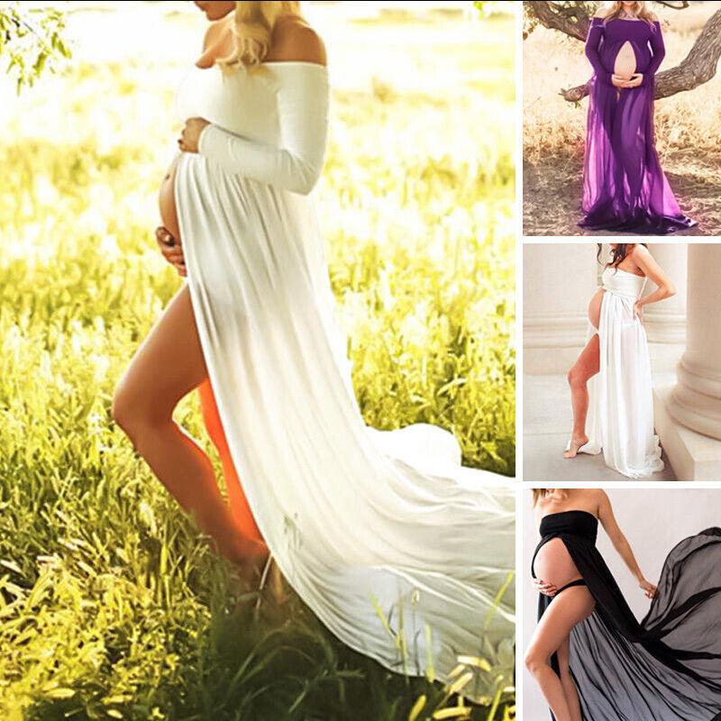 USSTOCK Maternity Dress Maxi Dress Lace Dresses Photography Prop Dress Clothes Z