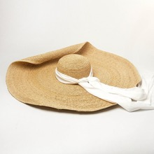 Fashion Summer straw hats for beach women ribbon decoration raffia big brim catwalk concave shape big brim straw hat girl