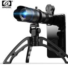 Apexel telescópio telescópio hd metal 20 40x zoom, lente monocular para câmera + mini tripé para samsung iphone e todos os smartphones