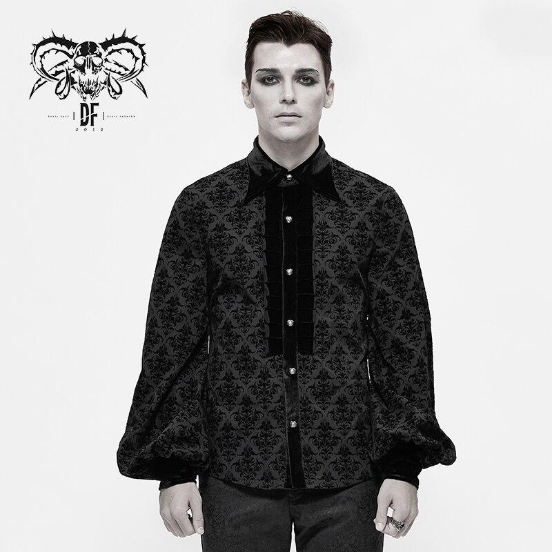 Devil Fashion Men;s Gothic Lantern Sleeve Blouses Fashion Retro Turn Collar Jacquard Shirt