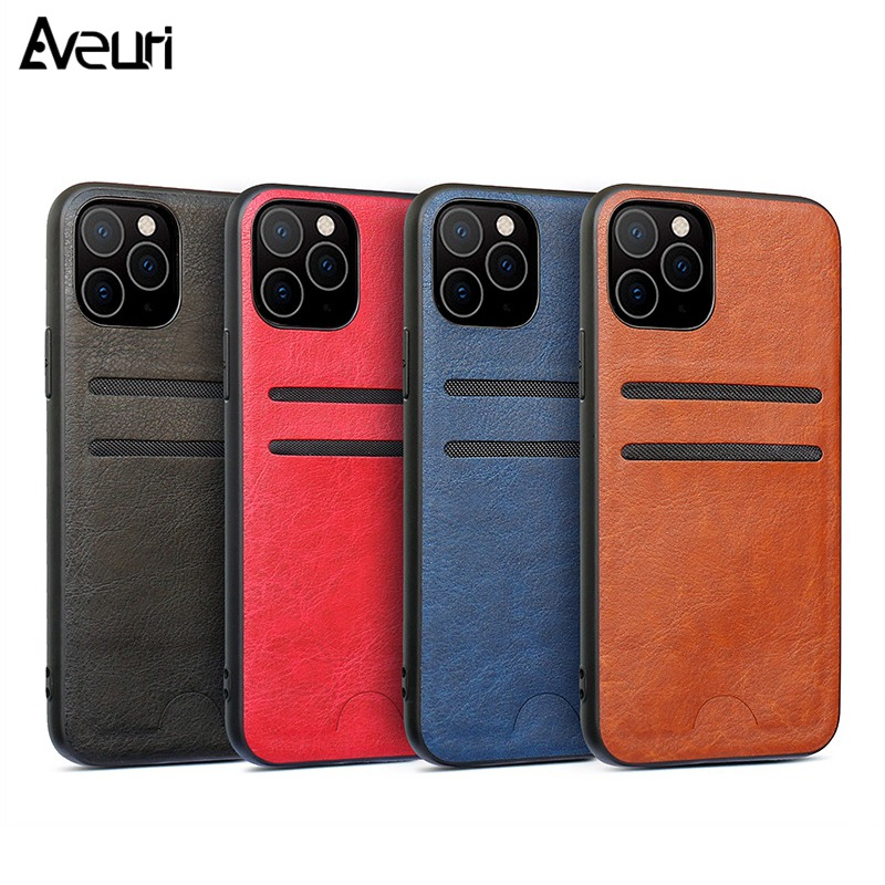 Luxury PU Leather Case For iPhone 11 Pro Max X XR XS MAX 7 8 Plus Coque 2 Card Slot Cover Phone Case For iPhone 6 6S 6 S Plus image
