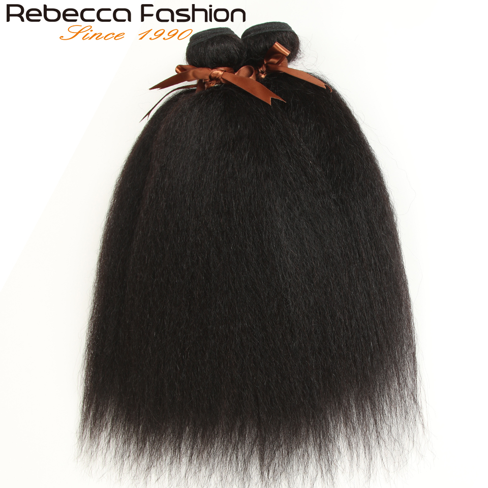 Rebecca  Yaki Straight Hair 100%  s 1/3/4 Pcs Double Weft 10 to 30 Inch 4