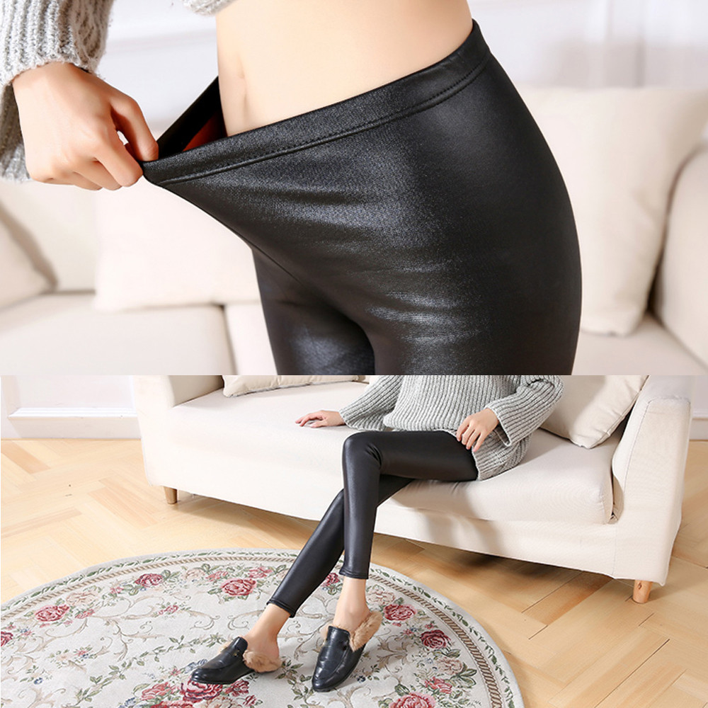 2020 New Women Faux Leather Pencil Pants Sexy Slim Black Jeans High Waist Tight Skinny Legins Calzas Mujer