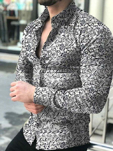 Lapel Man Printing Long Sleeve Leisure Flower Big Size Shirt Mens Business Casual Slim Fit Dress Shirts Outwear