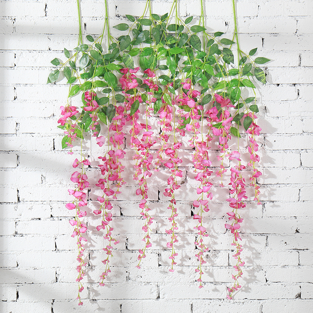 6Pcs Wisteria Vine Artificial Flowers Silk Garland Arch Wedding Decoration Home Garden Decoration Hanging Plant Wall Decor