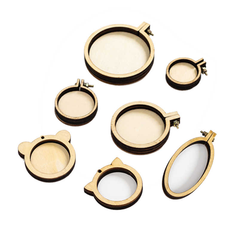 7pcs/set Mini Ring Embroidery Circle Round Wooden Hoops DIY Cross Stitch Hoop Kit Frame Craft Necklace Jewelry  Pendant