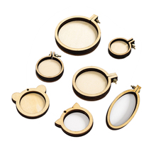 7pcs/set Mini Ring Embroidery Circle Round Wooden Hoops DIY Cross Stitch Hoop Kit Frame Craft Necklace Jewelry  Pendant promotion 7pcs embroidery 100