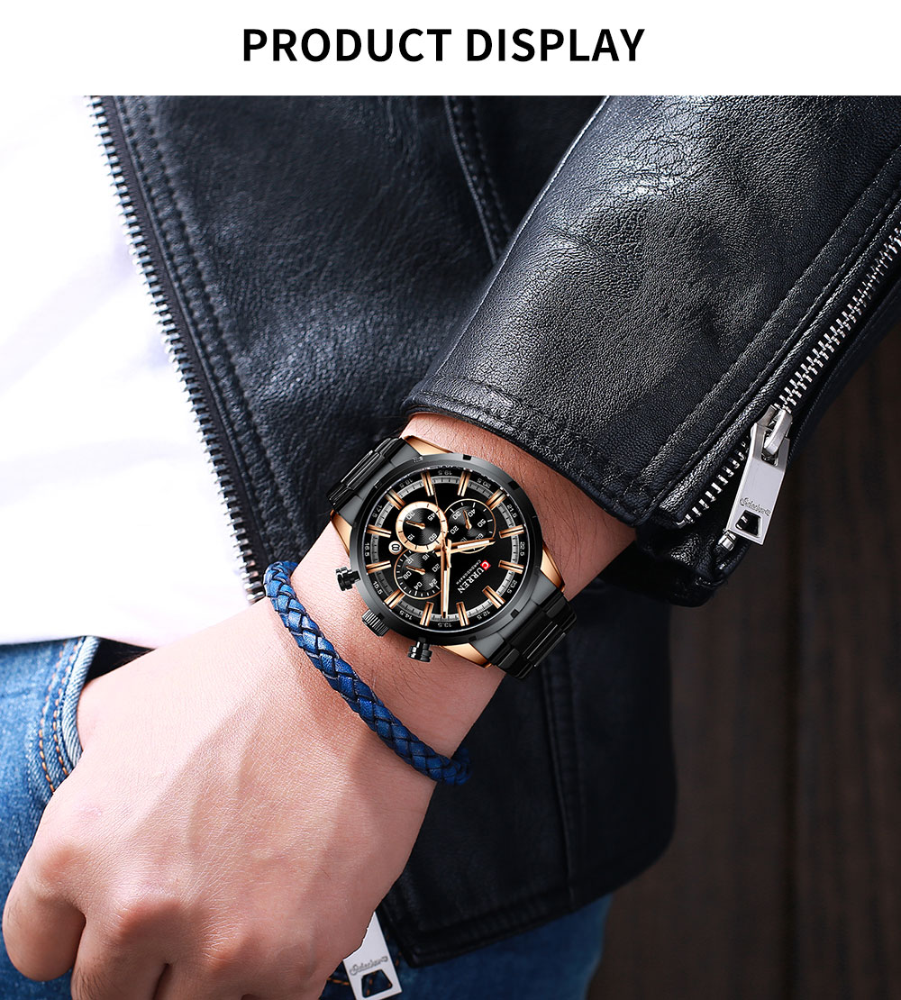 H2ddabbb00f02452d8b42fb572df82889Z CURREN New Fashion Mens Watches Quartz Chronograph