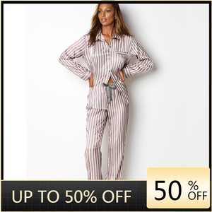 Silk Pajamas Women Striped Long Sleeves Sleepwear Set Satin Loungewear Two Piees Summer Night Suit Home Clothes