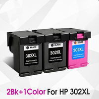 3PK(2BK,1Tri color) 302XL Refill Ink cartridge replacement for hp302xl hp 302 xl new Deskjet 1110 2130 2135 3630 3632 officejet
