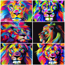 2020 New Oil Painting By Number Animal DIY Pictures By Numbers Lion Hand Painted Painting Art Gift Drawing On Canvas Home Decor rihe quiet street diy painting by numbers lover dog oil painting on canvas hand painted cuadros decoracion acrylic paint art