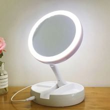Portable Makeup Mirror with LED Light Round Shape Desktop Natural Girl Magnifying Double Sided Backlit Looking Glass