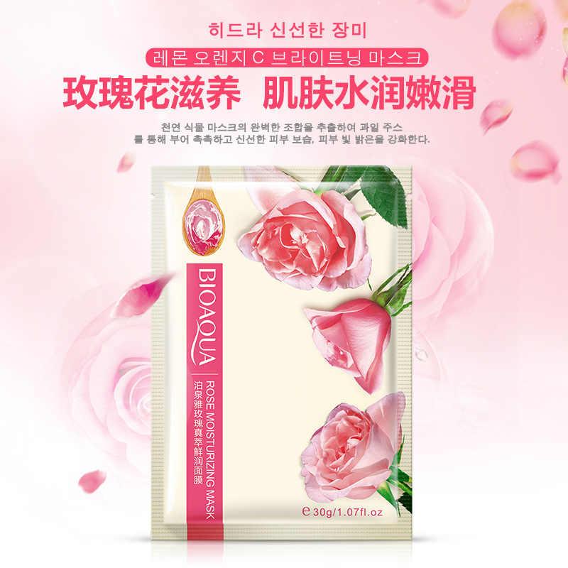 1 pièces Rose plante soins de la peau Six fruits masque Facial karité hydratant huile-contrôle miel citron myrtille aloès feuille masque masque visage