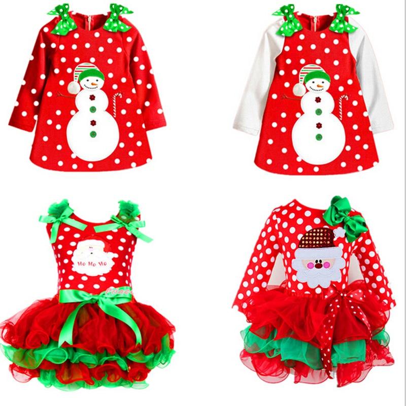 Dress Girls Costume Tutu Merry Santa Kids Cotton Children New-Year Dot Clus