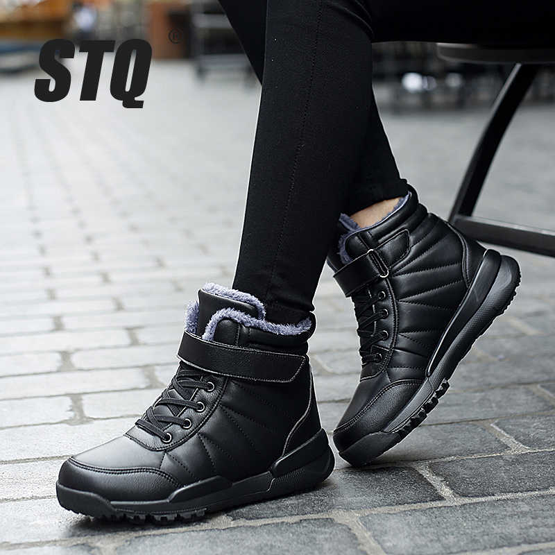 STQ kışlık botlar kadınlar Flats sıcak peluş ayakkabı ayakkabı bayanlar PU deri yarım çizmeler kadın kürk astarı kar botları ayakkabı ZJW2060