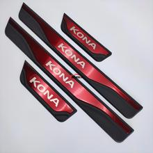 For Car Styling Accessories Hyundai Kona 2017-2020 Door Sill Stainless Scuff Plate Cover Strip Auto Guard Protector Protectives car door sill scuff plate for hyundai kona kauai 2018 stainless steel door sill protector sticker for new kona kauai