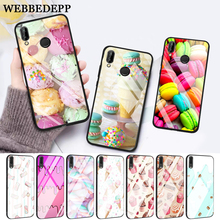 WEBBEDEPP PINK Heart Dessert Glass Case for Huawei P10 lite P20 Pro P30 P Smart honor 7A 8X 9 10 Y6 Mate 20