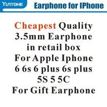 Chaud! Moins cher blanc écouteur avec télécommande et micro pour apple IPhone 6 6s 6G Plus 5 S55G dans la boîte de détail pour cadeau 100 pièces/lot
