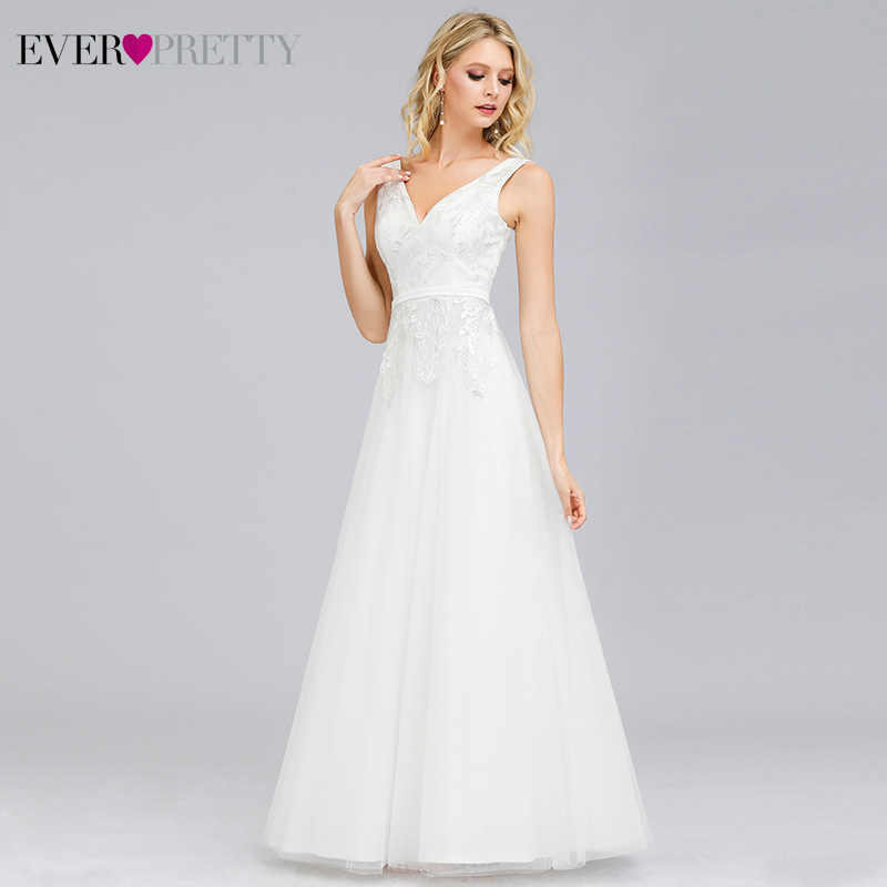 Simple Cheap Wedding Dresses Ever Pretty A-Line Double V-Neck Zipper Sequined Lace Elegant Formal Bride Gowns Robe De Mariee