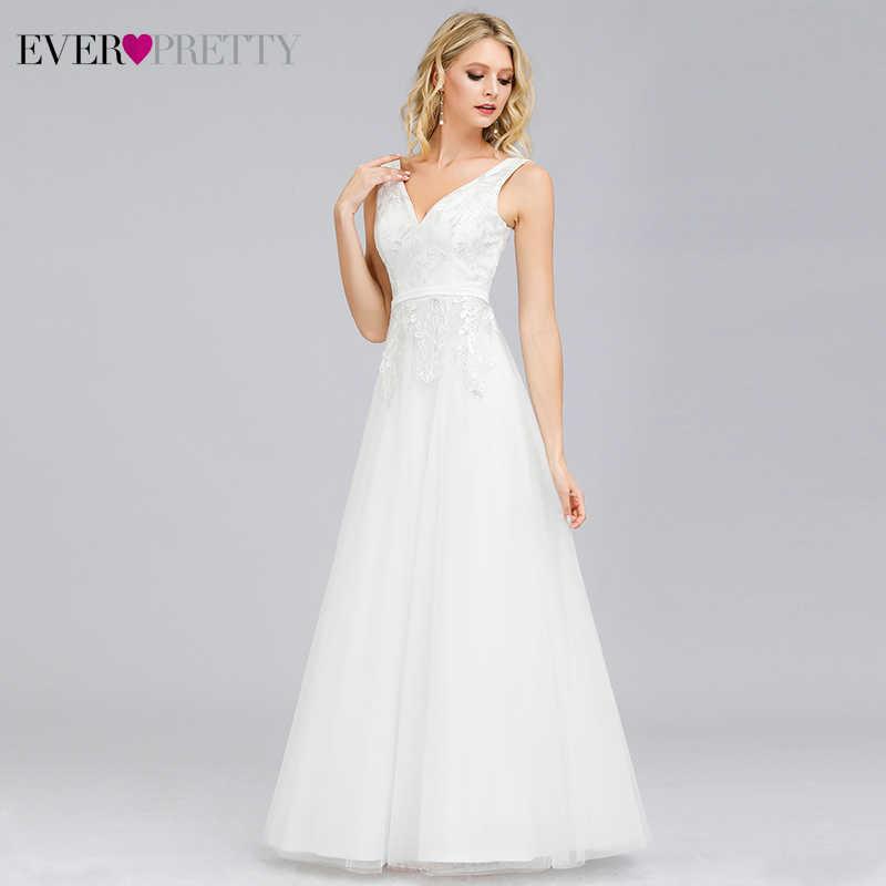 פשוט זול חתונה שמלות אי פעם די אונליין כפול V-צוואר רוכסן נצנצים תחרה אלגנטי פורמליות הכלה שמלות Robe דה Mariee