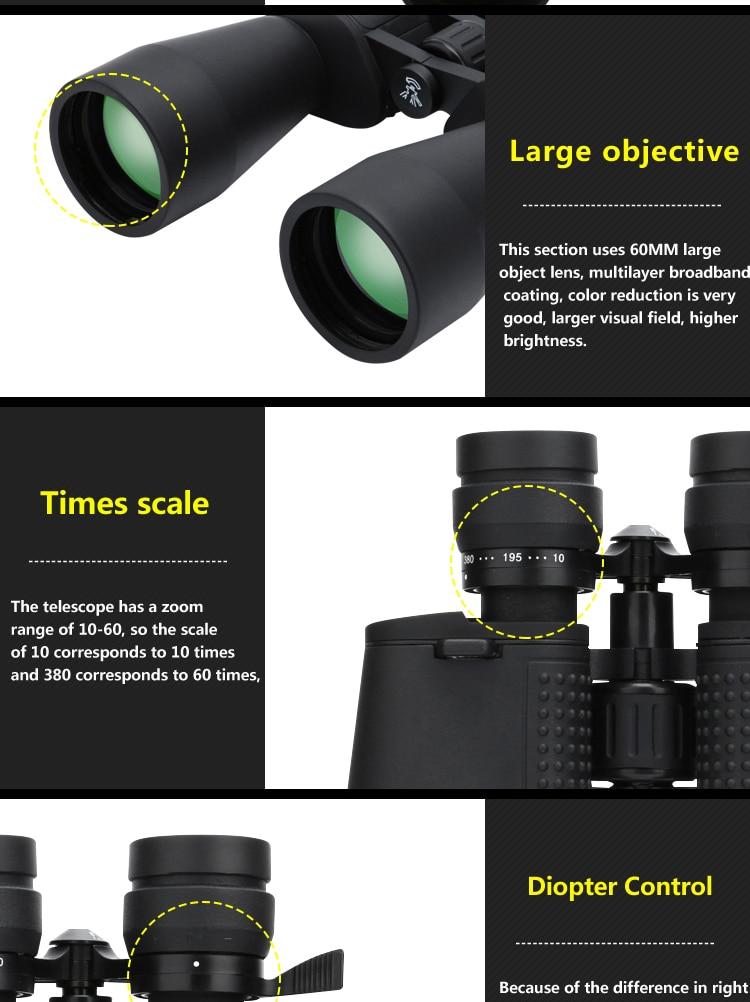 zoom binóculos 10-380x100 telescópio luz visão noturna