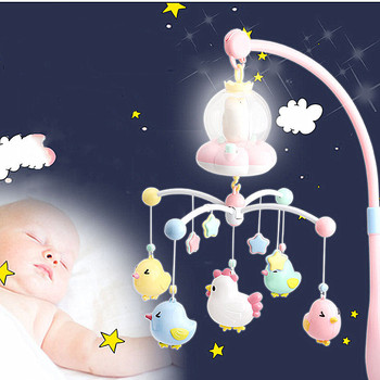 Touch Version Dream Bed Bell Newborn Rotating Music Rattles Crib Moving Bed Toddler Appease Toy Chick Star Pendant Infant Toys